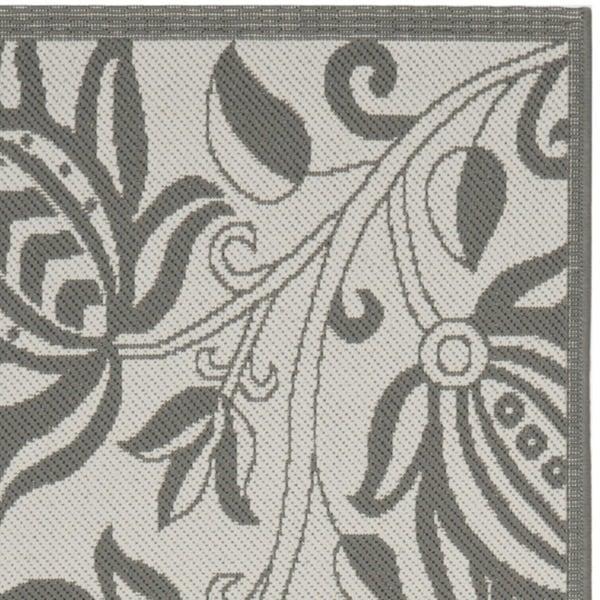 """Safavieh Courtyard Bloom Light Grey/ Anthracite Indoor/ Outdoor Rug (2'4 x 9'11) - 2'4"""" x 9'11"""""""