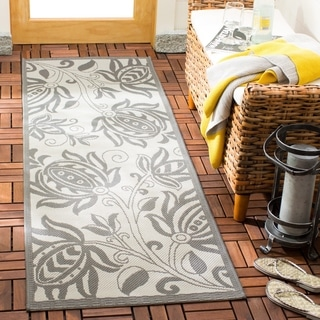 Safavieh Courtyard Bloom Light Grey/ Anthracite Indoor/ Outdoor Rug (2' x 3'7)