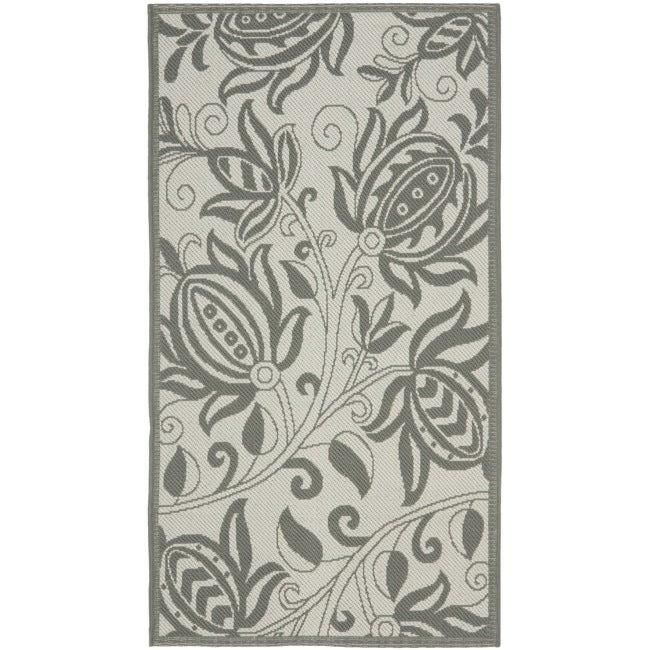 Safavieh Courtyard Bloom Light Grey/ Anthracite Indoor/ Outdoor Rug (2'7 x 5')
