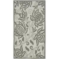 Safavieh Courtyard Bloom Light Grey/ Anthracite Indoor/ Outdoor Rug - 2'7 x 5'
