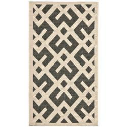 "Safavieh Courtyard Contemporary Black/ Beige Indoor/ Outdoor Rug (2' x 3'7"")"