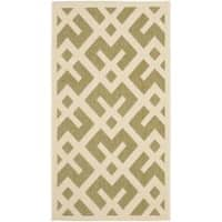 Safavieh Courtyard Contemporary Green/ Bone Indoor/ Outdoor Rug - 2' x 3'7