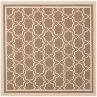 "Safavieh Courtyard Poolside Brown/ Bone Indoor/ Outdoor Rug - 6'7"" x 6'7"" square"