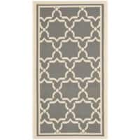 Safavieh Courtyard Poolside Dark Grey/ Beige Indoor/ Outdoor Rug - 2' x 3'7