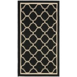 Safavieh Poolside Black/ Beige Indoor/ Outdoor Rug - 2' x 3'7'