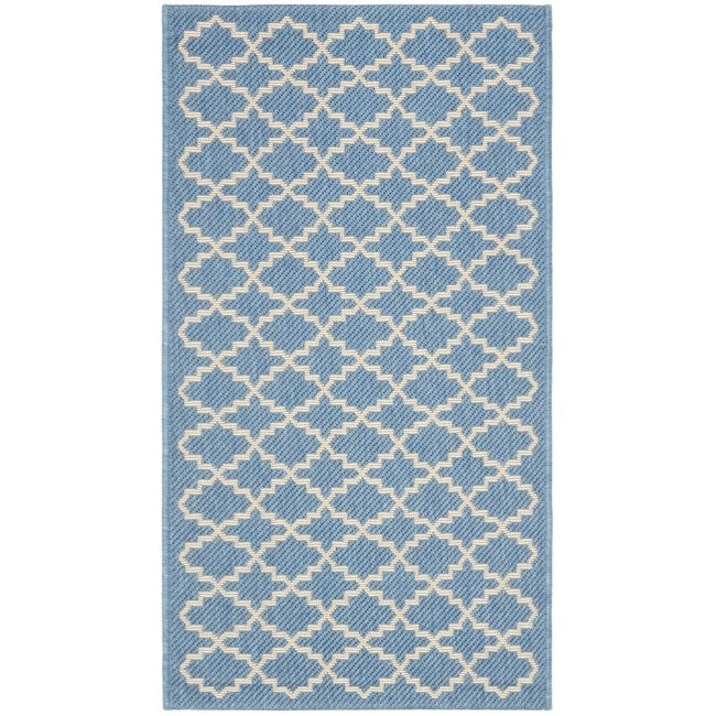 Safavieh Poolside Blue/ Beige Indoor/ Outdoor Rug (2' x 3'7)