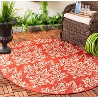 "Safavieh Poolside Red/ Cream Indoor/ Outdoor Rug - 5'3"" x 5'3"" round"