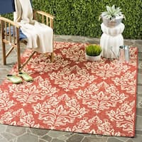 "Safavieh Poolside Red/ Cream Indoor/ Outdoor Rug - 6'7"" x 6'7"" square"