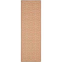 Safavieh Poolside Terracotta/ Cream Indoor/ Outdoor Rug (2'4 x 9'11)