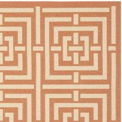 Safavieh Poolside Terracotta/ Cream Indoor/ Outdoor Rug (6'7 Square) - Thumbnail 1