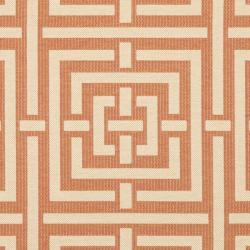 Safavieh Poolside Terracotta/ Cream Indoor/ Outdoor Rug (6'7 Square) - Thumbnail 2