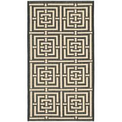 Safavieh Poolside Black/Bone Indoor/Outdoor Geometric Rug (2' x 3'7)