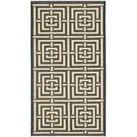 Safavieh Poolside Black/Bone Indoor/Outdoor Geometric Rug - 2' x 3'7