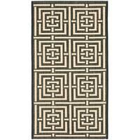 "Safavieh Poolside Black/Bone Indoor/Outdoor Geometric Rug - 2' x 3'7"""