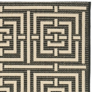 Safavieh Poolside Black/ Bone Indoor/ Outdoor Rug (2'4 x 9'11)