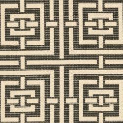 Safavieh Poolside Black/ Bone Indoor/ Outdoor Rug (2'7 x 5') - Thumbnail 2