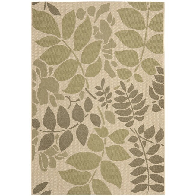 Shop Safavieh Poolside Cream/ Green Indoor/ Outdoor Rug - 5\'3 x 7\'7 ...