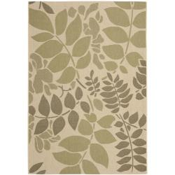 Safavieh Poolside Cream/ Green Indoor/ Outdoor Rug - 8' x 11'2
