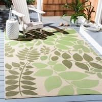 Safavieh Poolside Cream/ Green Indoor/ Outdoor Rug - 8' X 11'