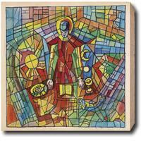 'Pray' Abstract Oil on Canvas Art - Multi