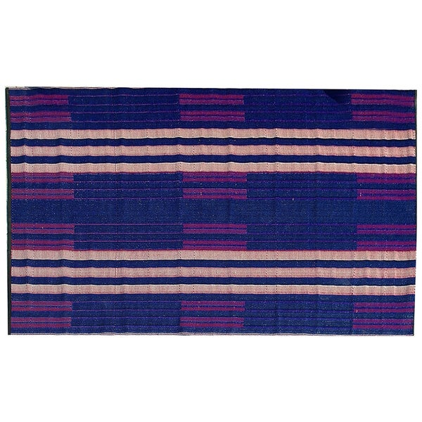 b.b.begonia Brick Lane Reversible Design Blue and Red Outdoor Area Rug (4' x 6')