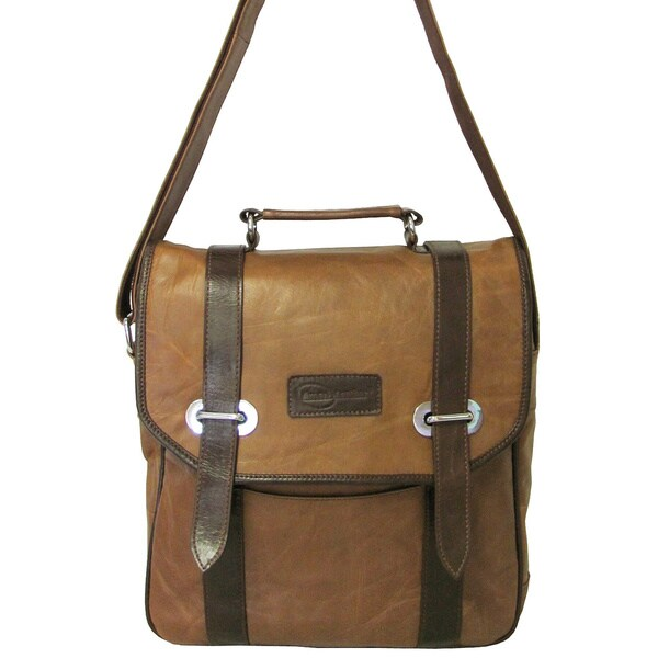 Amerileather Granger Two-tone Brown Messenger Bag