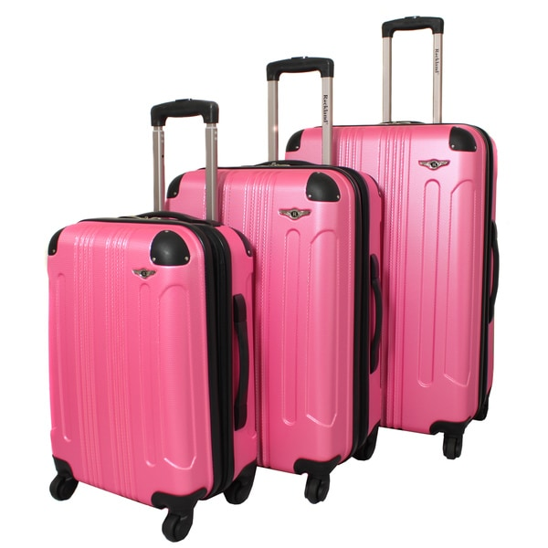 Rockland London Light Weight Expandable Pink 3-piece Hardside ...