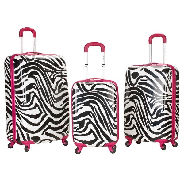 Rockland Designer Zebra 3-piece Hardside Upright Spinner Luggage Set