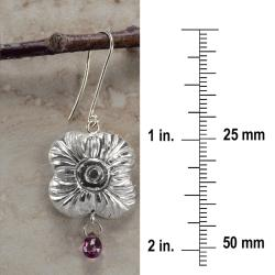 Ashanti 'Na' Flower Sterling Silver and Rhodolite Garnet Briolette Dangle Earrings (Sri Lanka) - Thumbnail 1