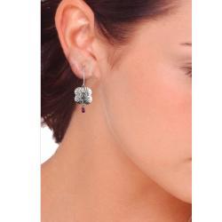 Ashanti 'Na' Flower Sterling Silver and Rhodolite Garnet Briolette Dangle Earrings (Sri Lanka) - Thumbnail 2