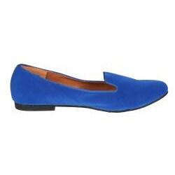 Refresh by Beston Women's 'Belin-03' Blue Suede Flats - Thumbnail 1