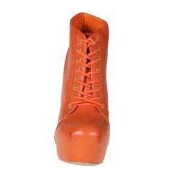 Refresh by Beston Women's 'Dolly-03' Orange Chunky Heel Booties