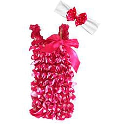 Hot Pink and White Polka Dot Romper Headband Bow 3-piece Set