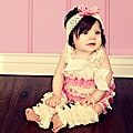 Cream and Baby Pink Romper Headband Bow 3-piece Set