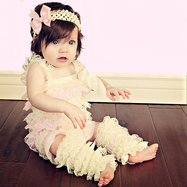 Cream and Light Pink Romper Headband Bow 3-piece Set - Thumbnail 0