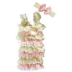 Cream and Light Pink Romper Headband Bow 3-piece Set - Thumbnail 1
