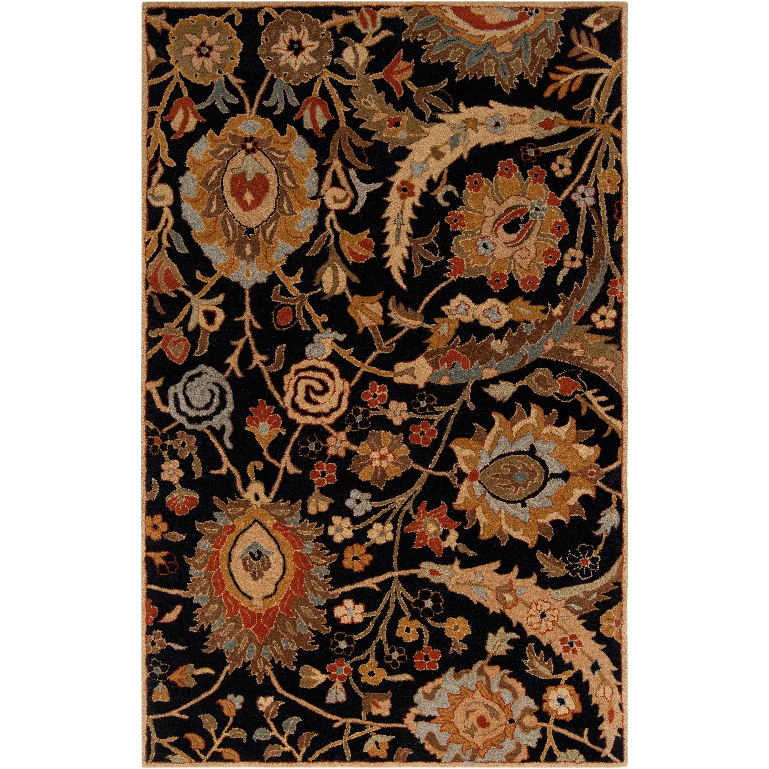 Hand-tufted Kings Bay Black Semi-Worsted New Zealand Wool Area Rug (5' x 8')