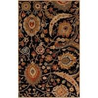 Hand-tufted Kings Bay Black Semi-Worsted New Zealand Wool Area Rug - 5' x 8'
