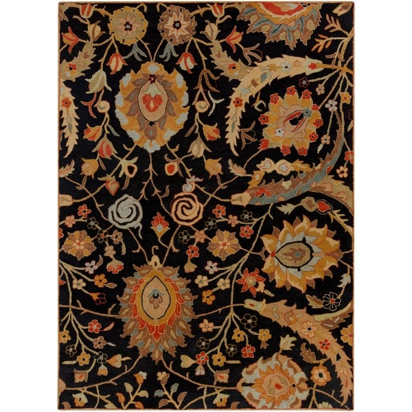 Hand-tufted Kings Bay Black Semi-Worsted New Zealand Wool Area Rug - 8' x 11'
