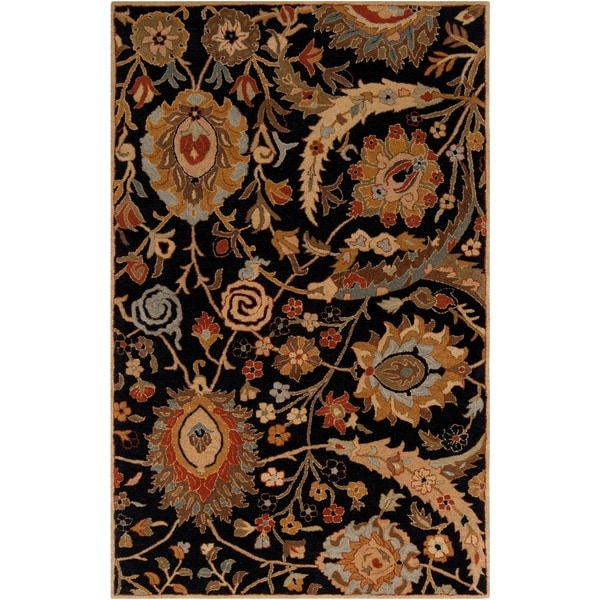 Hand-tufted Kings Bay Black Semi-Worsted New Zealand Wool Area Rug - 9' x 13'