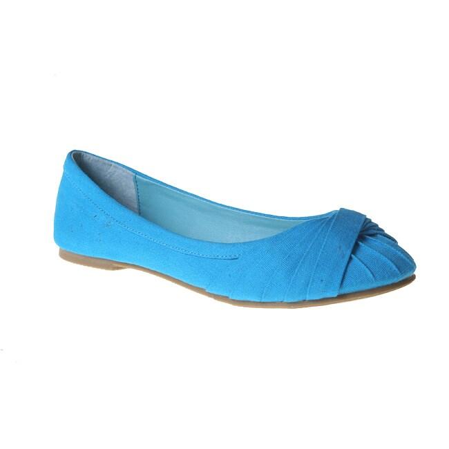 Refresh by Beston Women's 'Lauren-01' Blue Canvas Flats