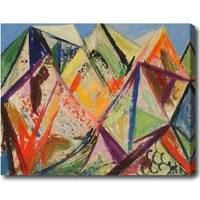 'Mountains' Abstract Oil on Canvas Art - Multi