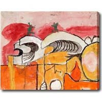 Horizontal Abstract Oil on Canvas Art - Multi