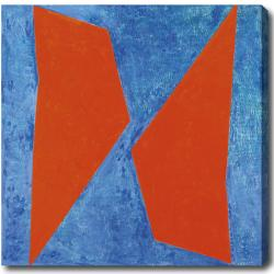 'Orange and Blue' Abstract Oil on Canvas Art
