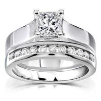 Annello by Kobelli 14k White Gold 1ct TDW Diamond Bridal Ring Set