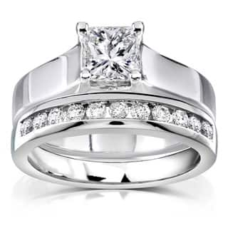 annello 14k white gold 1ct tdw diamond bridal ring set - Solitaire Wedding Ring Sets
