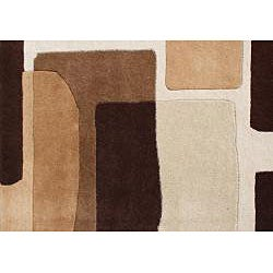 Alliyah Handmade Brown New Zealand Blend Wool Rug 8ft Sq