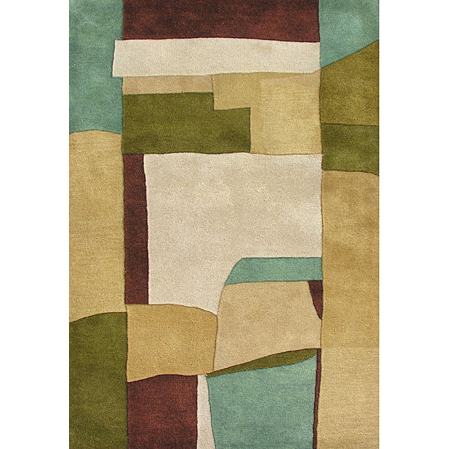 Handmade Metro Sand Wool Rug (8' x 10')