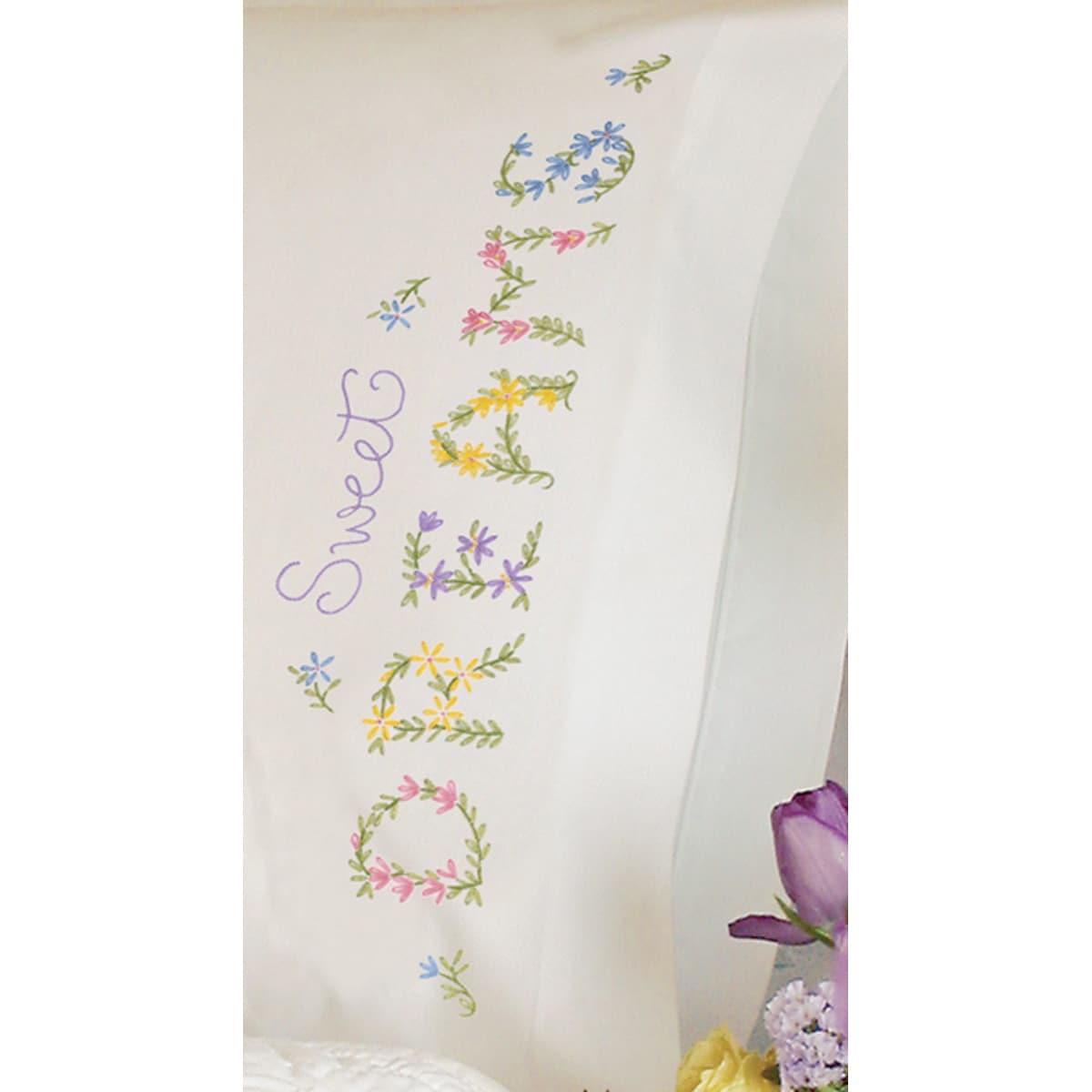 "DIMENSIONS Dreams Pillowcase Pair Stamped Embroidery-20""X..."