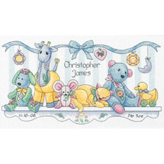 """Baby Hugs Baby's Friends Birth Record Counted Cross Stitch K-14""""X8"""""""